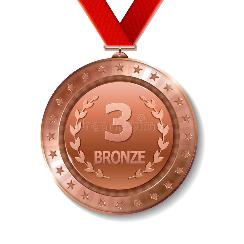 优胜者的现实3d bronz战利品奖奖牌 皇族释放例证