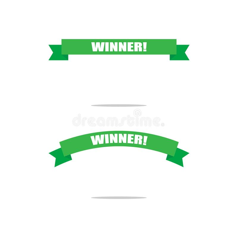 优胜者的绿色战利品丝带 冠军 祝贺,优胜者标题 背景查出的白色 皇族释放例证