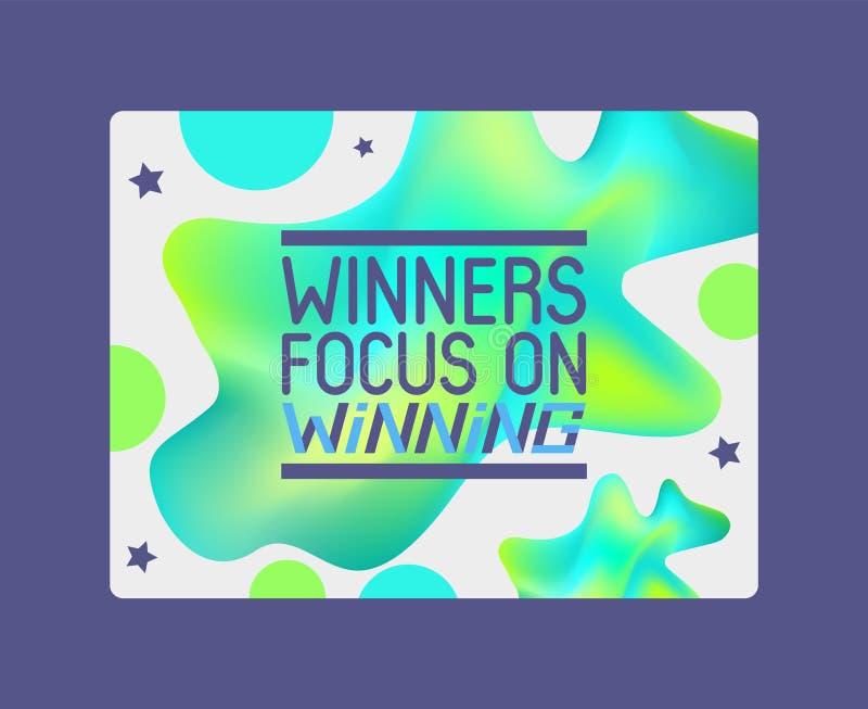 优胜者集中于赢得在抽象背景横幅传染媒介例证 在冠军的祝贺 ?? 皇族释放例证