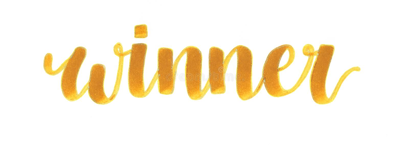 `优胜者`手在焦糖颜色的字法题字与金子等高,优胜者的 库存例证