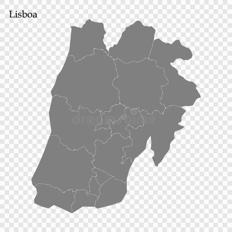优质地图是葡萄牙的地区 库存例证