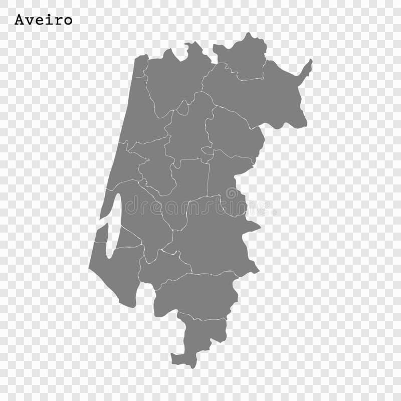 优质地图是葡萄牙的地区 向量例证