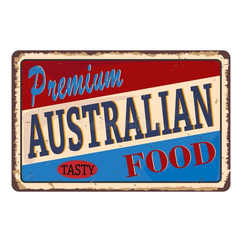 优质澳大利亚食物葡萄酒餐馆罐子标志 食物和饮料吃饭的客人的增进广告标志板 减速火箭的传染媒介 向量例证