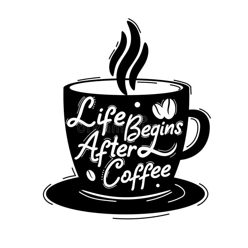 生活在咖啡以后开始 优质诱导行情 r 传染媒介行情有白色背景 皇族释放例证