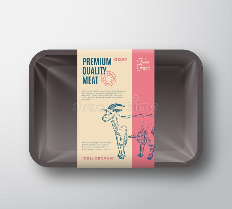 优质质量山羊组装 抽象有透明玻璃纸面的传染媒介肉塑料盘子容器 成套设计标签 向量例证