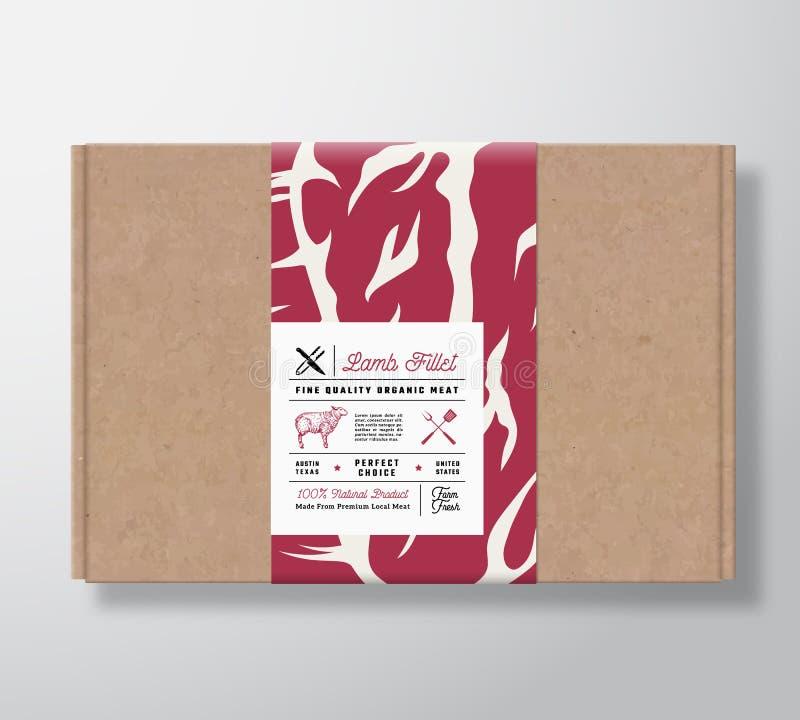 优质质量羊羔内圆角工艺纸板箱 抽象有标签盖子的传染媒介肉纸箱 成套设计 向量例证