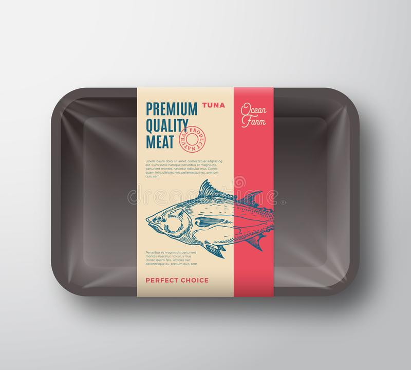 优质质量金枪鱼组装 抽象有透明玻璃纸面的传染媒介鱼塑料盘子容器 成套设计标签 库存例证