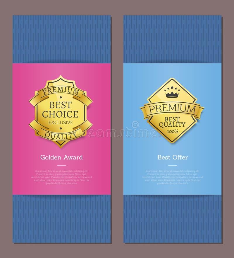 优质质量金标签专属产品  向量例证