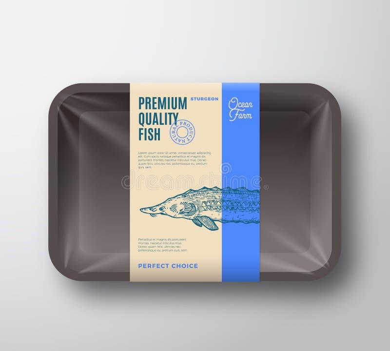 优质质量鲟鱼 抽象有透明玻璃纸面成套设计标签的传染媒介鱼塑料盘子 ?? 向量例证
