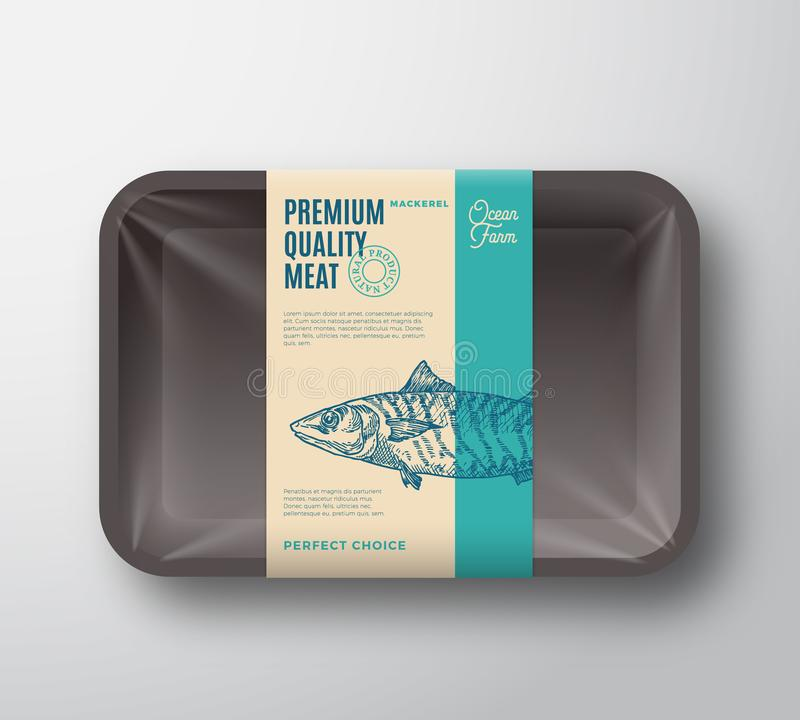 优质质量鲭鱼组装 抽象有透明玻璃纸面的传染媒介鱼塑料盘子容器 成套设计标签 向量例证