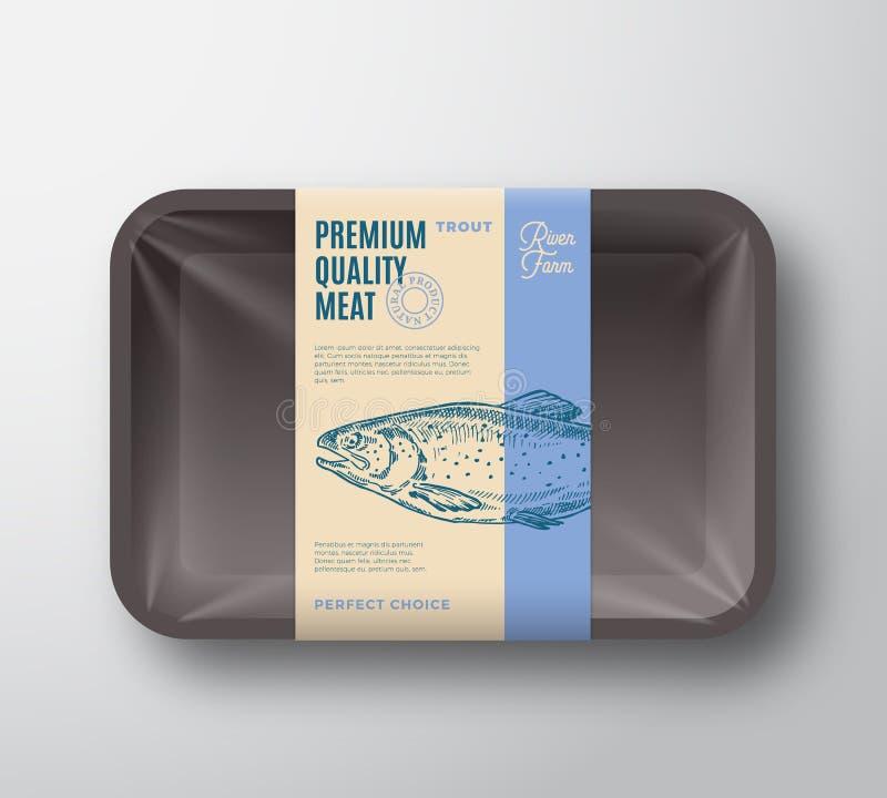 优质质量鳟鱼组装 抽象有透明玻璃纸面的传染媒介鱼塑料盘子容器 成套设计标签 皇族释放例证