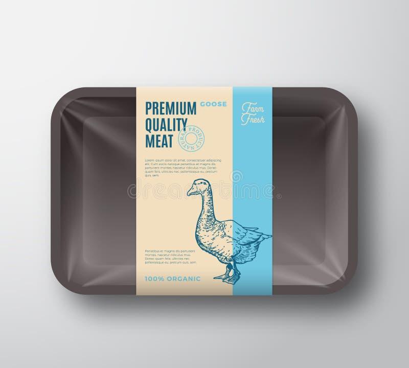优质质量鹅组装 抽象有透明玻璃纸面的传染媒介禽畜塑料盘子容器 成套设计标签 库存例证