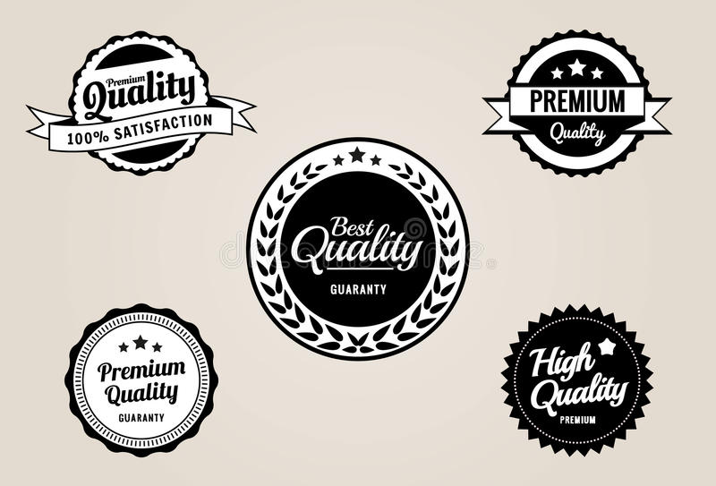 优质质量&保证标签和徽章-减速火箭的葡萄酒样式 向量例证