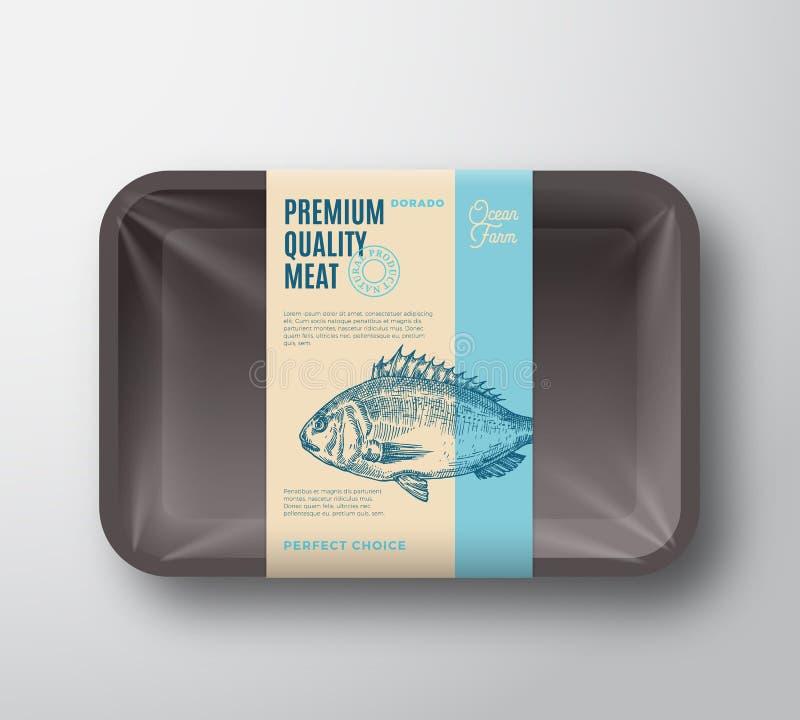 优质质量Dorado组装 抽象有透明玻璃纸面的传染媒介鱼塑料盘子容器 成套设计标签 皇族释放例证