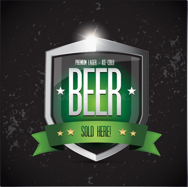 优质贮藏啤酒-冰冷的啤酒盾 库存例证