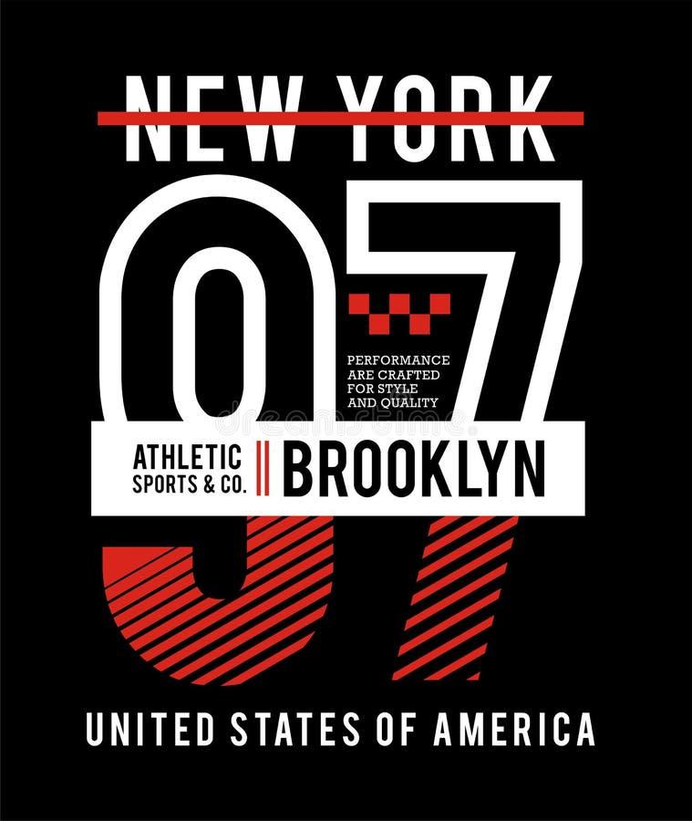 优越NYC布鲁克林97印刷术设计,T恤杉印刷品图表的,象征,导航 库存例证