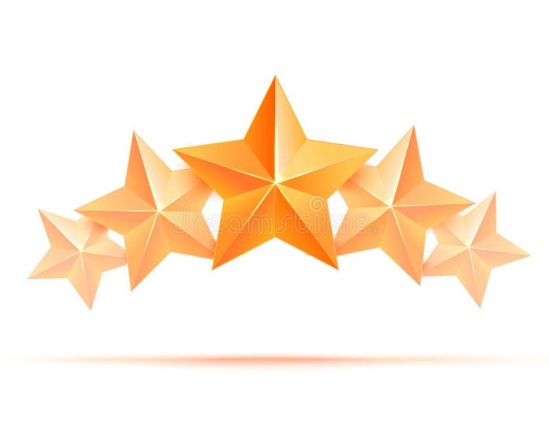 优质五个3d金的星 最佳的奖励 库存例证