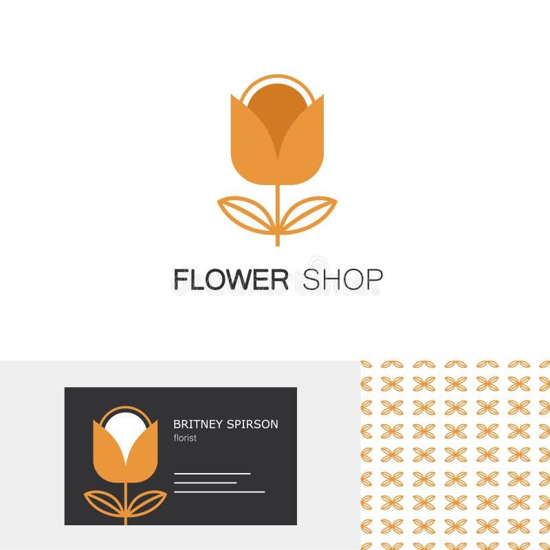 优质企业身分设置了与郁金香象征、名片设计模板和无缝的样式花店的 库存例证