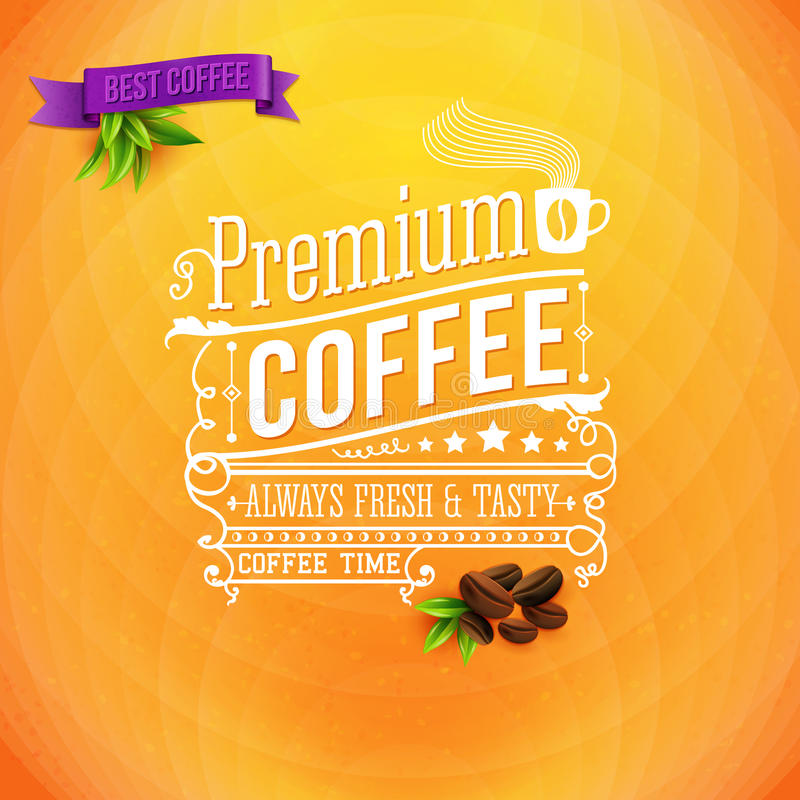优质咖啡海报,印刷术设计 明亮的橙色backgrou 库存例证