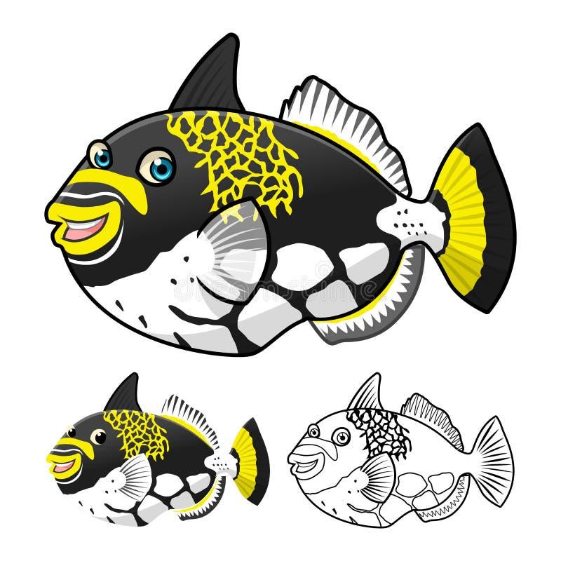 优质引金鱼漫画人物包括平的设计和线艺术版本 皇族释放例证