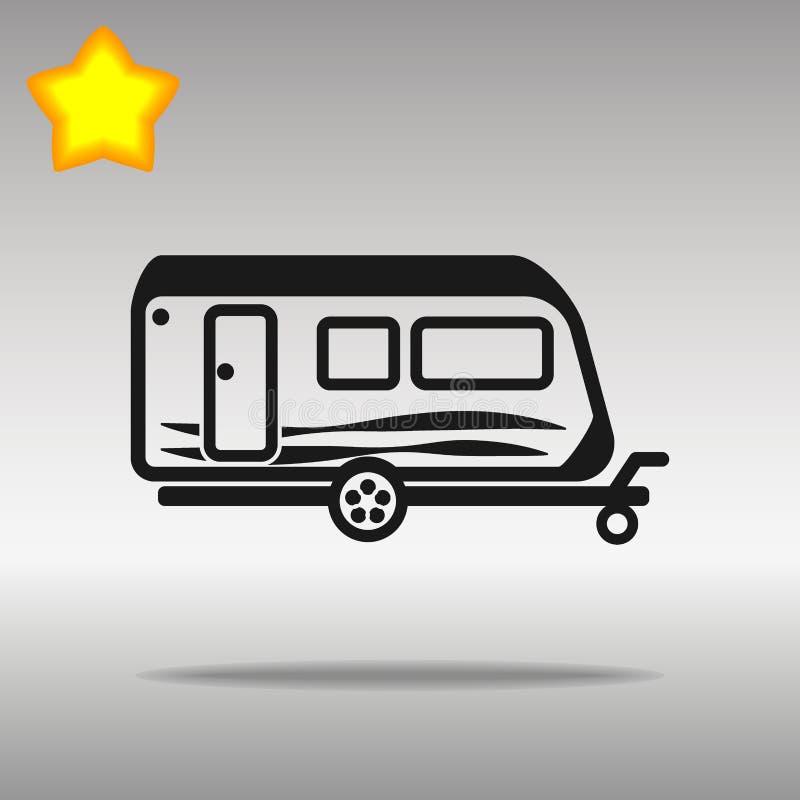 黑优质旅行野营的拖车汽车象按钮商标标志的概念 皇族释放例证