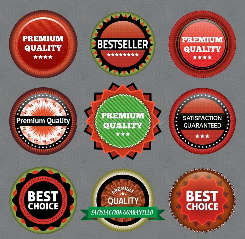 优质质量和保证标签的汇集 向量例证