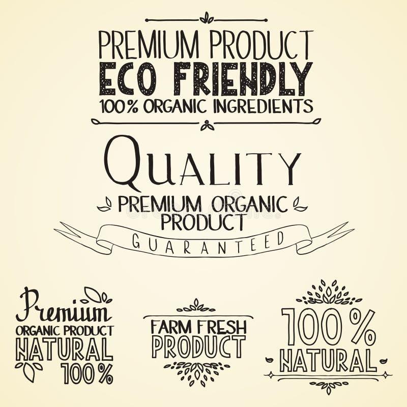 优质质量有机健康食品标题 库存例证