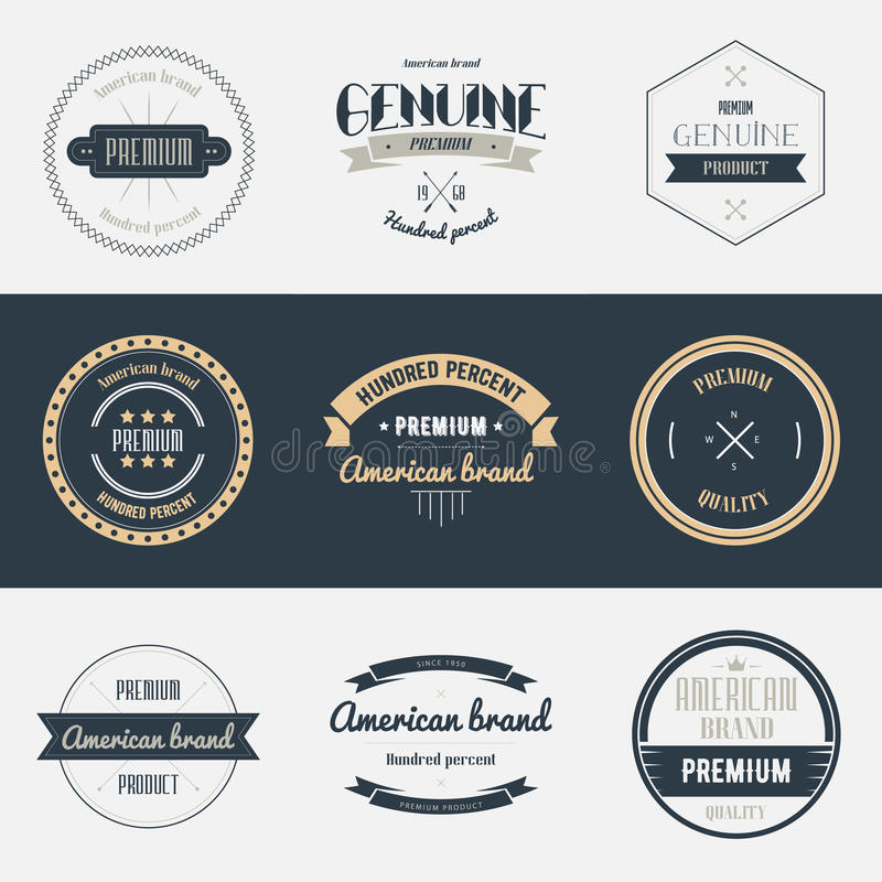 优质质量标号组 品牌设计元素 皇族释放例证
