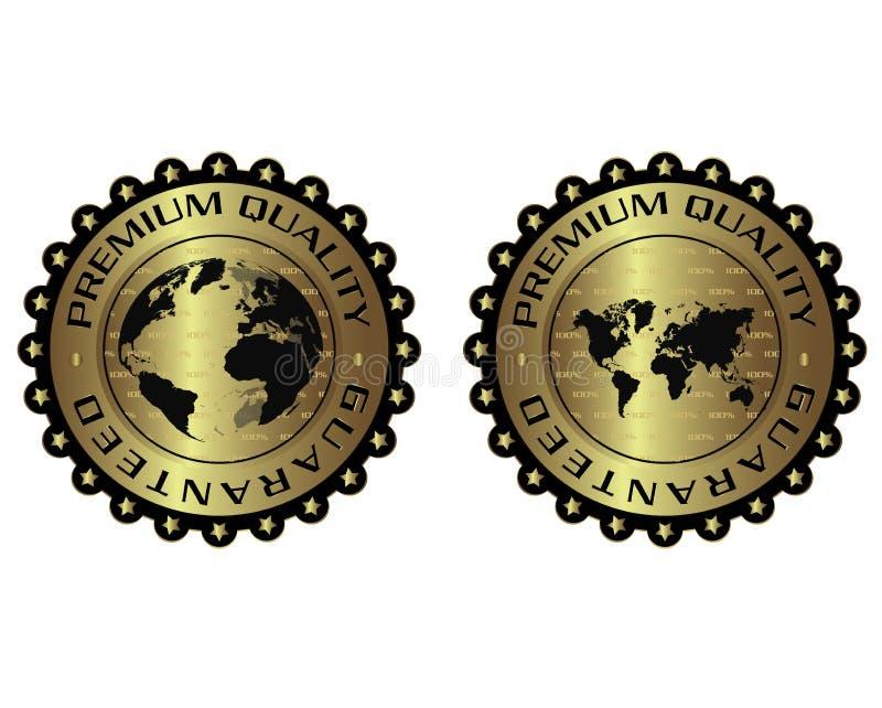 优质质量独特的豪华金黄标签 库存例证