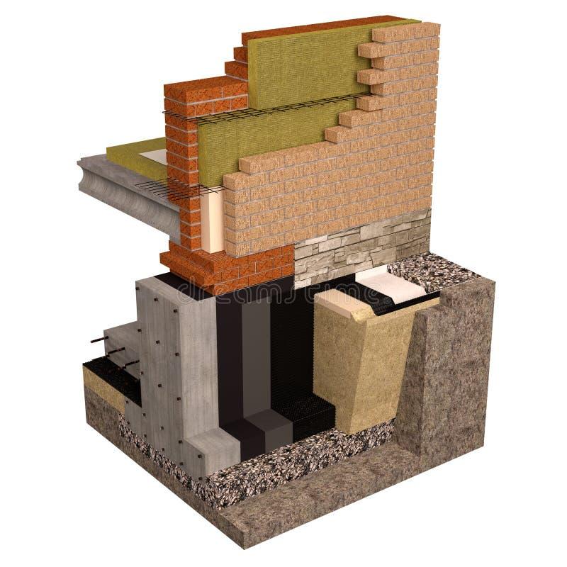 优质3d回报基础和墙壁的计算机图象有房子的绝缘材料的 库存例证
