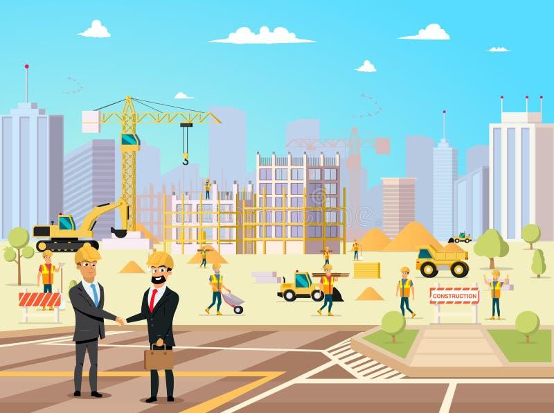 伙伴和承包商成交会议楼房建筑的 传染媒介动画片工作者字符Illsustration  商业 库存例证