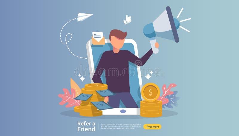 会员营销概念 提到一个朋友战略 人字符分享推举企业合作的呼喊扩音机和 皇族释放例证