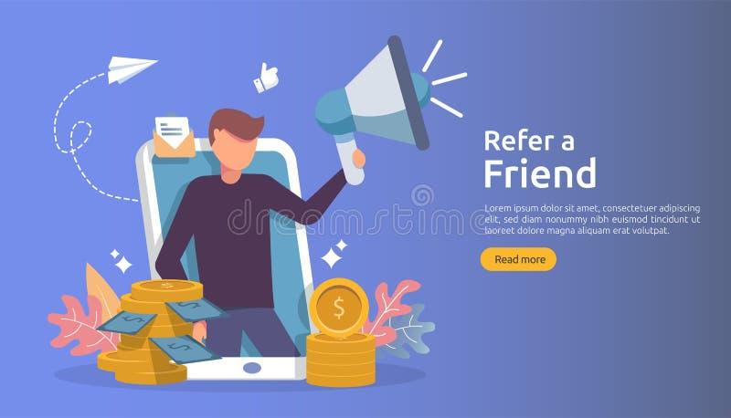 会员营销概念 提到一个朋友战略 人字符分享推举企业合作的呼喊扩音机和 库存例证