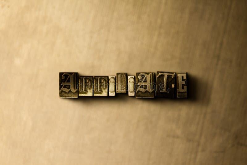 会员-脏的葡萄酒在金属背景的被排版的词特写镜头  库存例证