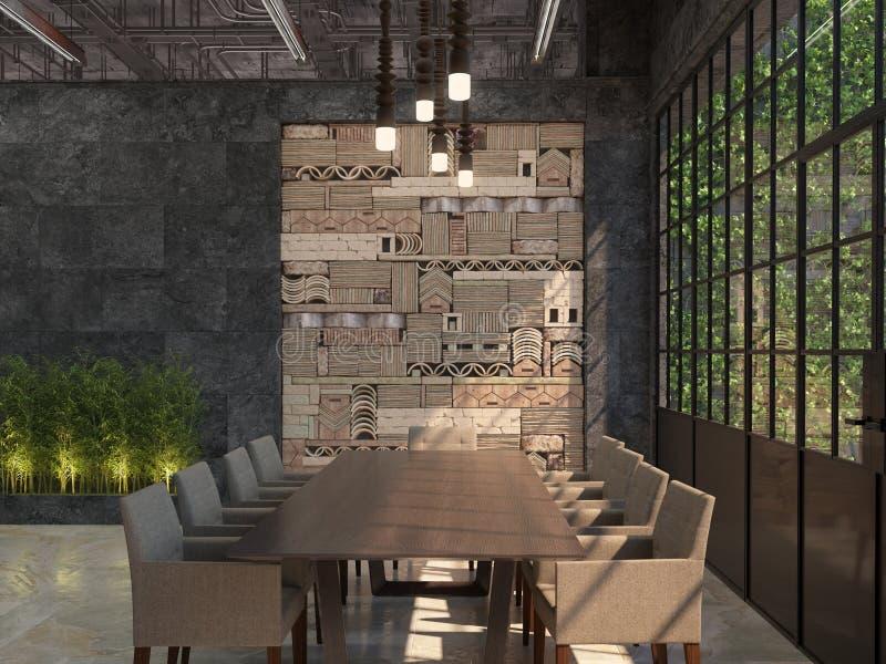 会场的室内设计 有桌的在顶楼样式的会议室和椅子 3d形象化 库存例证