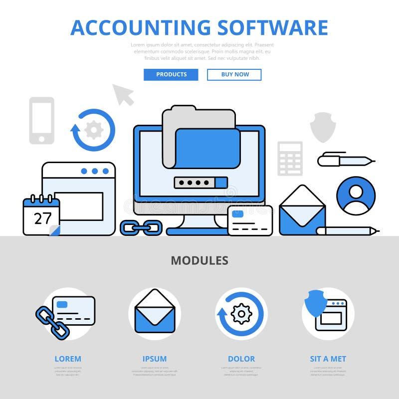 会计学软件app应用概念平的线艺术传染媒介象 向量例证