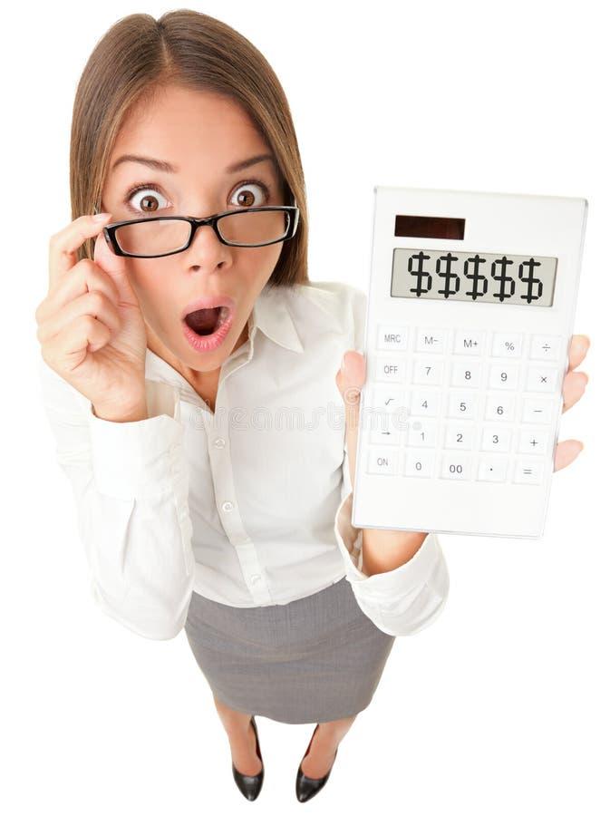 会计师商业冲击了妇女 免版税图库摄影