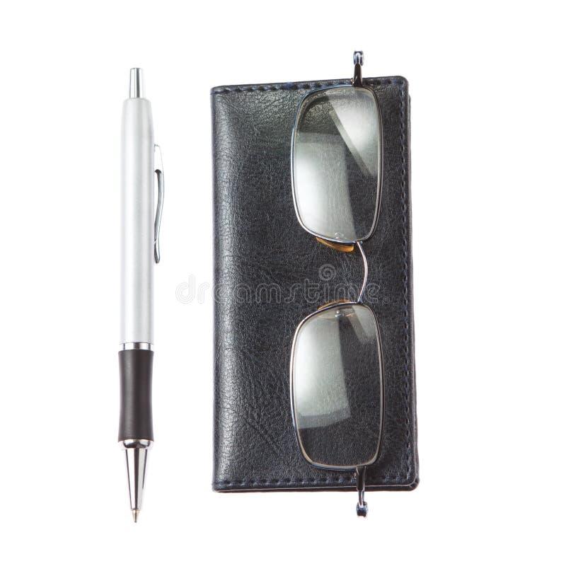 会计师玻璃笔记本笔工具 图库摄影