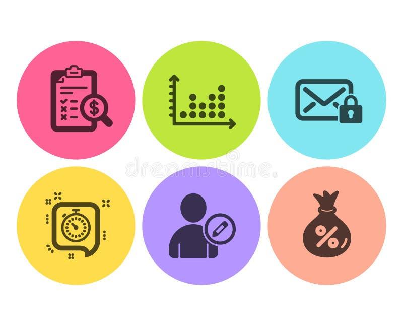 会计报告,编辑用户和小点剧情象集合 定时器、安全邮件和贷款标志 ?? 皇族释放例证