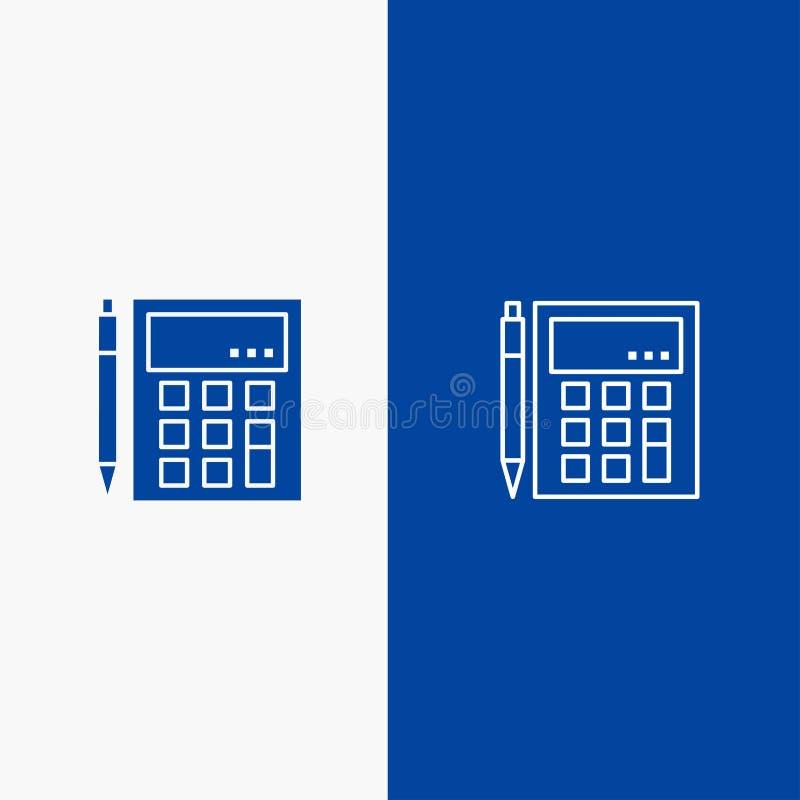 会计,帐户,计算,演算、计算器、财政,算术线和纵的沟纹坚实象蓝色旗和纵的沟纹 向量例证
