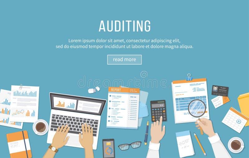 会计,验核演算数据分析报告的业务会议 人们在工作 在一张桌上的人的手与文件 库存例证