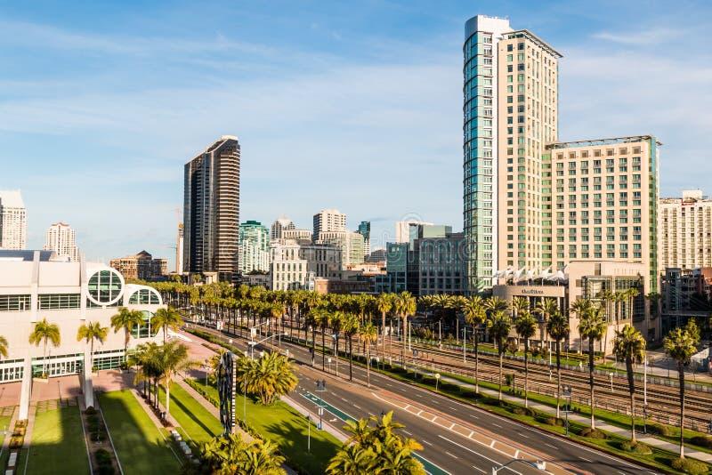 会议中心和旅馆港口驱动的在圣地亚哥 免版税库存图片