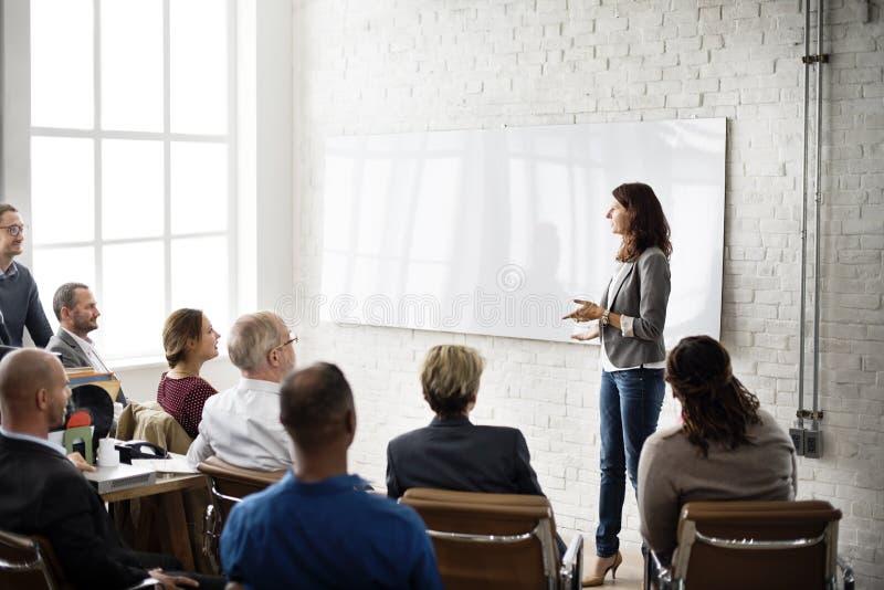 会议学会教练的企业概念的训练计划 库存图片
