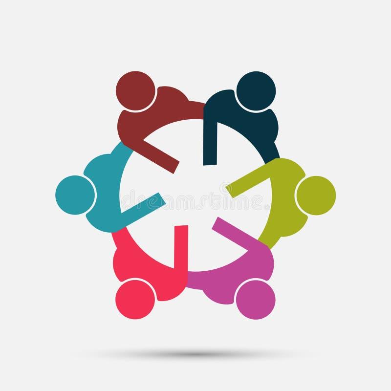 会议室人商标 小组圈子的四个人 向量例证