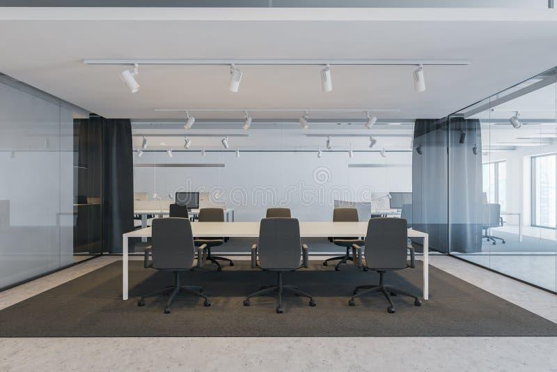 会议室内部在露天场所办公室 向量例证