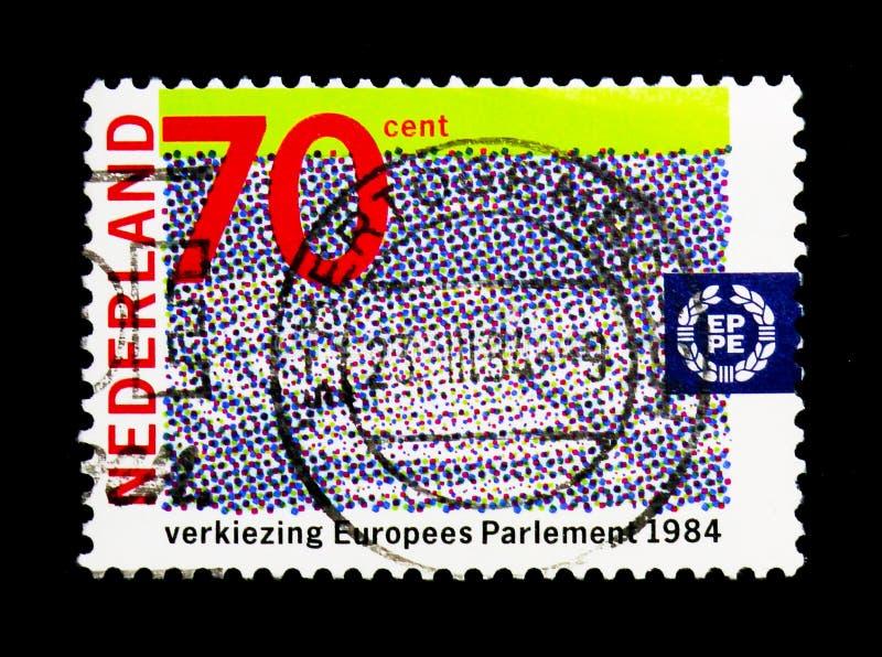 会议室欧洲议会, serie,大约1984年 免版税图库摄影