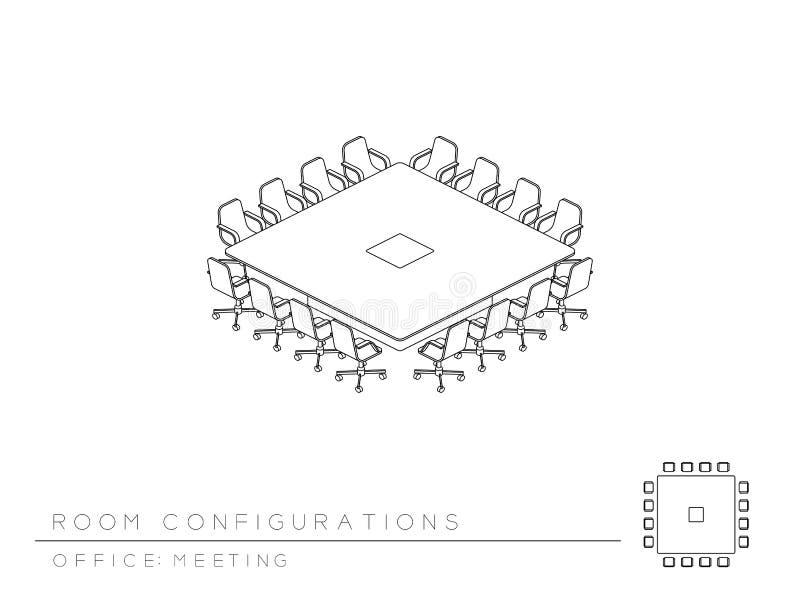 会议室设定了布局配置会议正方形会议室样式,透视3d等量与顶视图例证 皇族释放例证