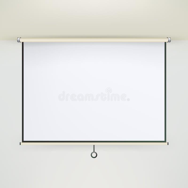 会议放映机屏幕传染媒介 在墙壁上的空的白板介绍会议 creen白色Boad介绍和显示 向量例证