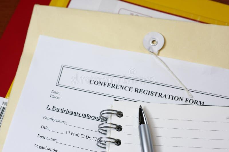 会议表单注册 库存图片
