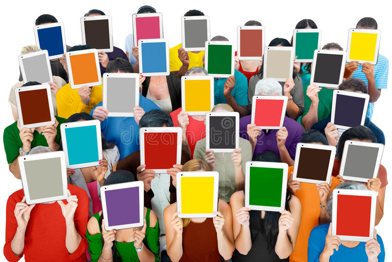 会集数字式片剂通信社会概念的社交 免版税库存图片
